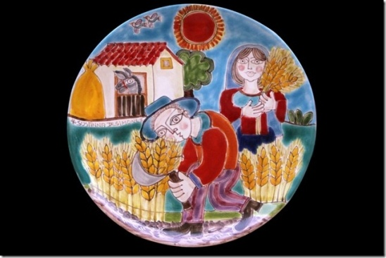 Pottery and ceramics - Plate rapresenting a typical scene of harvesting.