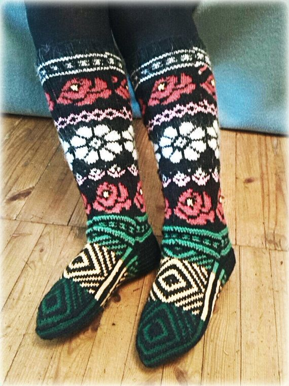 Colored Knee high knitted socks by WarmandCozyKnits on Etsy