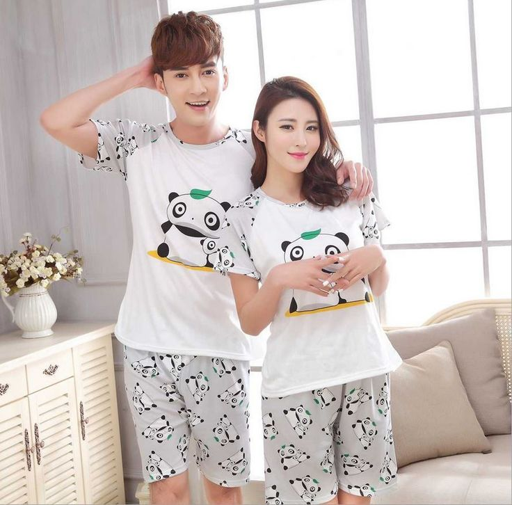 새로운 남성/여성 중국 자이언트 팬더 인쇄 라운드 넥 짧은 소매 잠옷 여름 커플 레저 잠옷 홈 정장