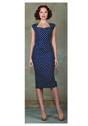 StopStaring! - Premiere Dress in navy polka dots | Notorious