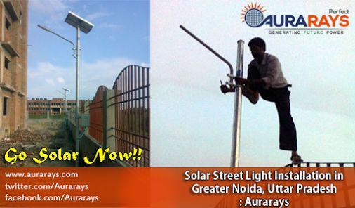 Solar Street Light Installation in Greater Noida (UP), India: http://www.aurarays.com/solar-project-greater-noida-park3.aspx #SolarLights #SolarPanels