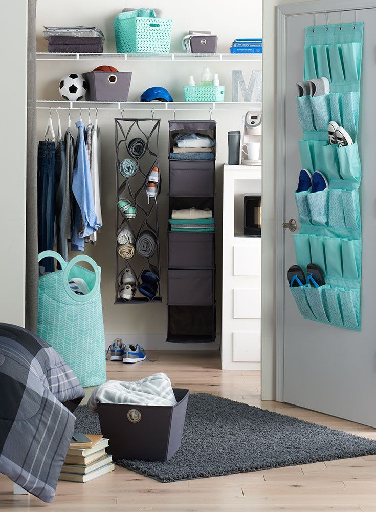 Major in small-space style with smart storage solutions. Featured product includes: Simple by Design 25-pocket accessories organizer, convertible aqua hamper, hanging sweater shelf, over-the-door shoe organizer, back-to-school bath caddy and storage totes in gray and aqua. Get set to head back to college at Kohl's.