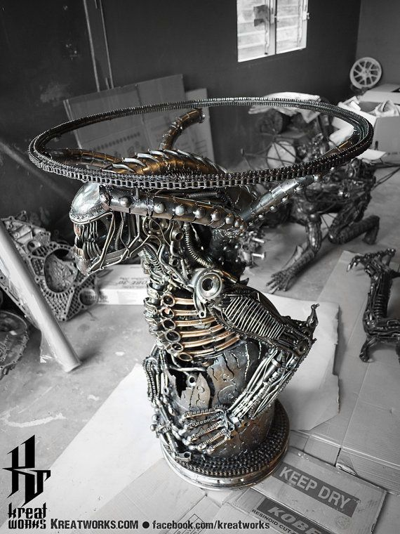 100cm Metal Monster Table  include a glass tabletop  door Kreatworks