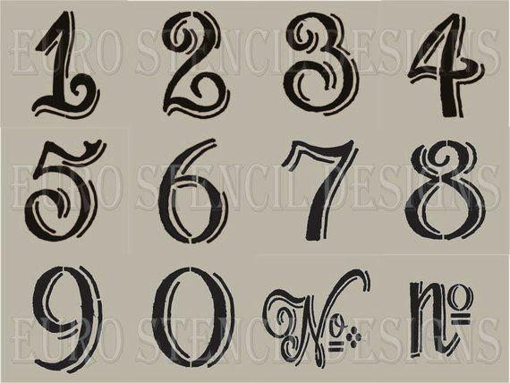 12 kleine Schablonen zum Sackleinen basteln, malen und Zeichen zahlen Euro Schablone Designs Chalk Board Hand Stil schattiert
