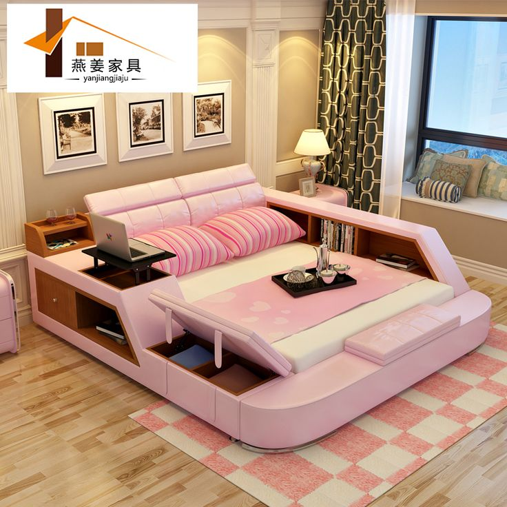 Bedroom furniture China leather bed Tatami bed Minimalist modern double bed Width includes 1.5 meters & 1.8 meters.Paper art bed