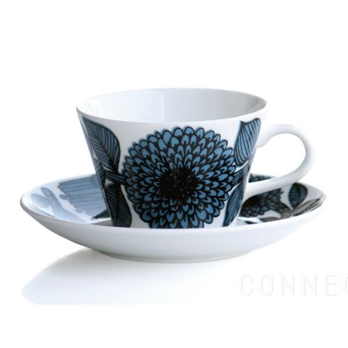 Blå Aster Coffee Cup With Saucer, Cone, Gustavsberg $94