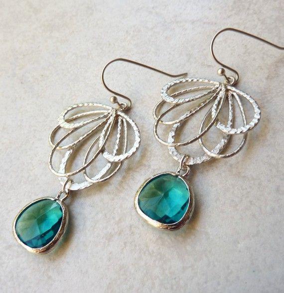 Chandelier Earrings - Rhodium, Silver, Wedding, Bohemian, Teal, Jewel, Dangle Earrings    A lovely pair of rhodium fan shaped chandelier earrings.