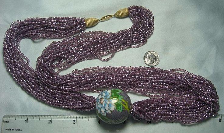 "Fabulous Multi Strand Glass Bead Necklace w Large Cloisonne Bead  31"" long"