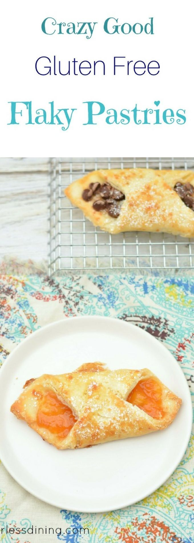 You can have pastries when you are gluten free! These gluten free flaky pastries are a delicious pastry that you can fill with jam, chocolate, or fruit. Recipe at http://www.fearlessdining.com