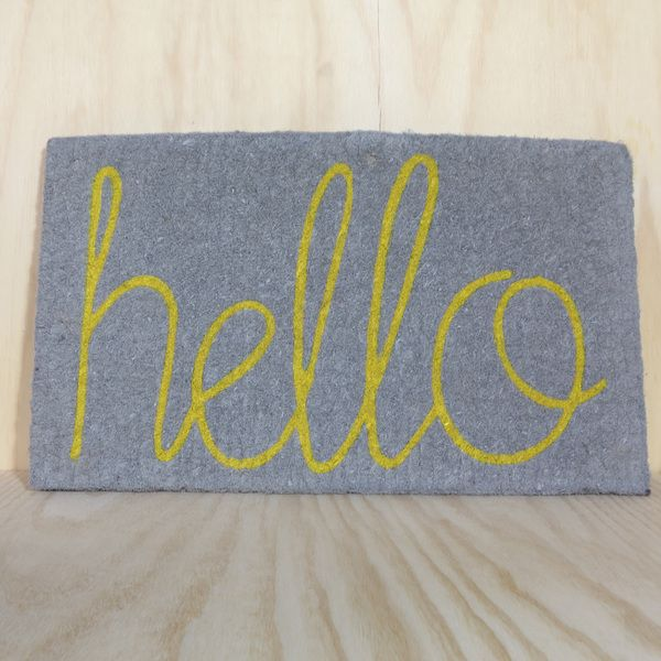 Hello Doormat In Grey With Yellow Hello Gift Goodness