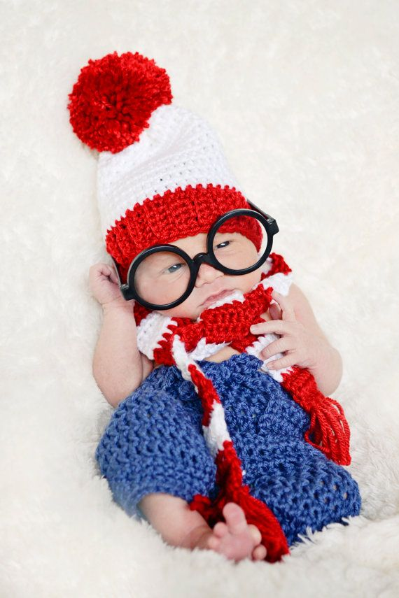 a4cd9a69e10 Crochet Whereu0027s Waldo Costume. Newborn Photography .