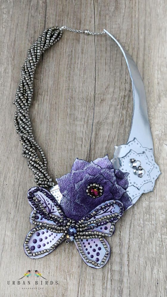 "Necklace ""Wings Of A Butterfly"", Handmade Necklace, Leather Necklace, Butterfly, Flowers, Leather Flowers, Beads, Crystal, Purple, Silver by UrbanBirdsUrbanBirds on Etsy"