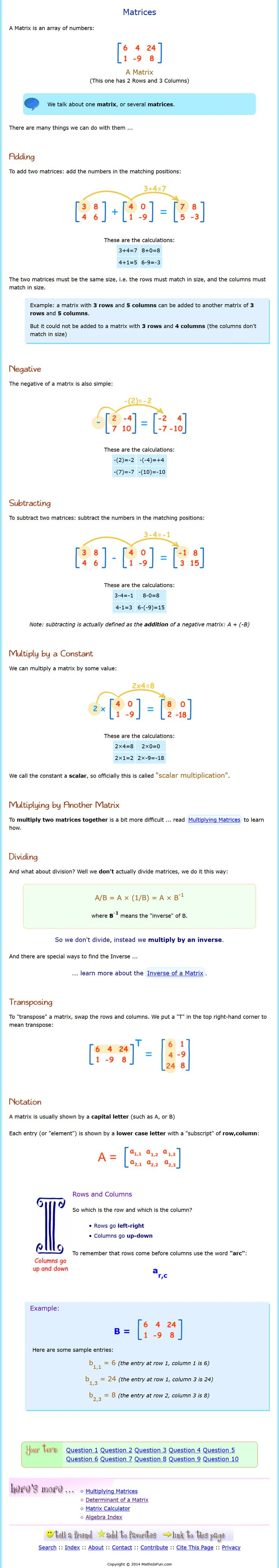 Matrices with Determinants