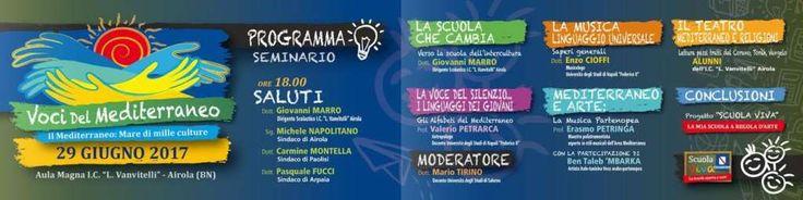 """Scuola Viva, domani all'IC Vanvitelli convegno """"Voci del Mediterraneo"""" a cura di Redazione - http://www.vivicasagiove.it/notizie/scuola-viva-domani-allic-vanvitelli-convegno-voci-del-mediterraneo/"""