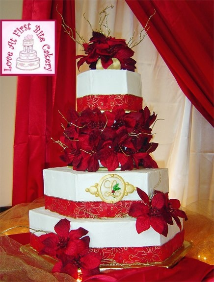 Poinsettia Red & Gold hexagon Wedding Cake
