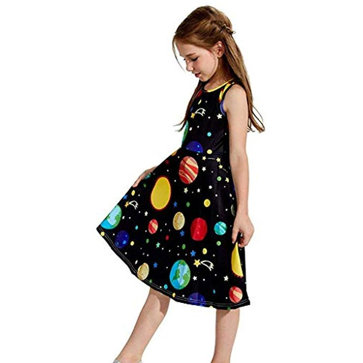 YpingLonk Youth Teen Kids Girls Sleeveless Planet Print Dress School Party … – Mädchen