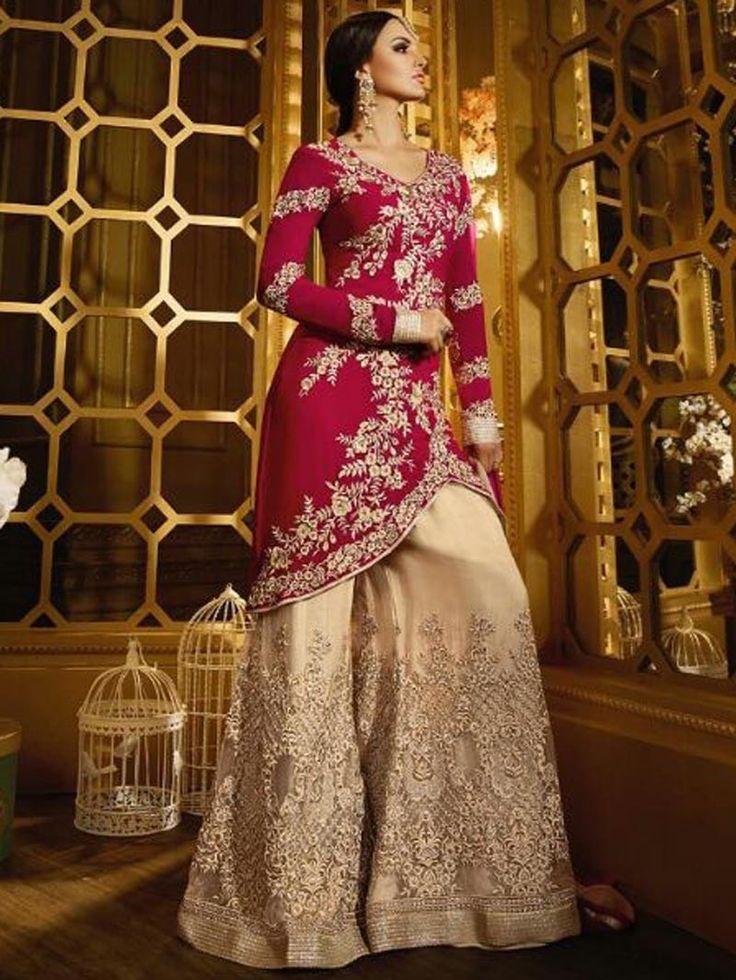 Red+With+Beige++Color+Heavy+Designer+Anarkali+Salwar+Kameez++Suit+Designs+