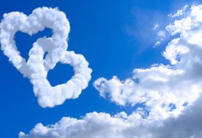 любовь, сердца, вместе, облака, синий, белый, фон