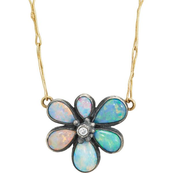 Judy Geib Women's Mixed-Gemstone Floral Pendant Necklace ($2,980) ❤ liked on Polyvore featuring jewelry, necklaces, gold, floral necklace, round necklace pendant, gemstone necklace pendants, round pendant necklace and handcrafted necklaces