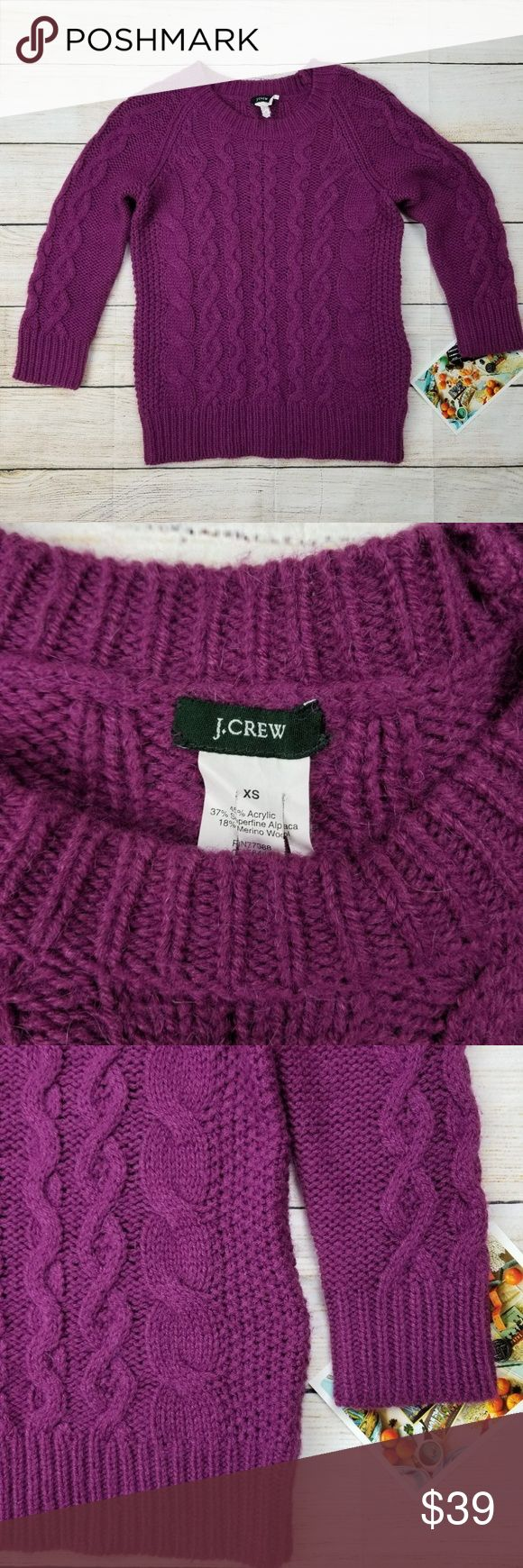 """J. Crew purple fisherman cabled sweater XS J Crew fisherman sweater in great condition. Minor use/wear.   Measurements approx (taken with item laid flat across side to side) Chest 16.5"""" Sleeve (from top of neckline) 20"""" Length 23""""  ✔For the best results I recommend comparing the measurements of your favorite fitting sweater or a similar item to the measurements provided above   From a smoke-free home J. Crew Sweaters Crew & Scoop Necks"""