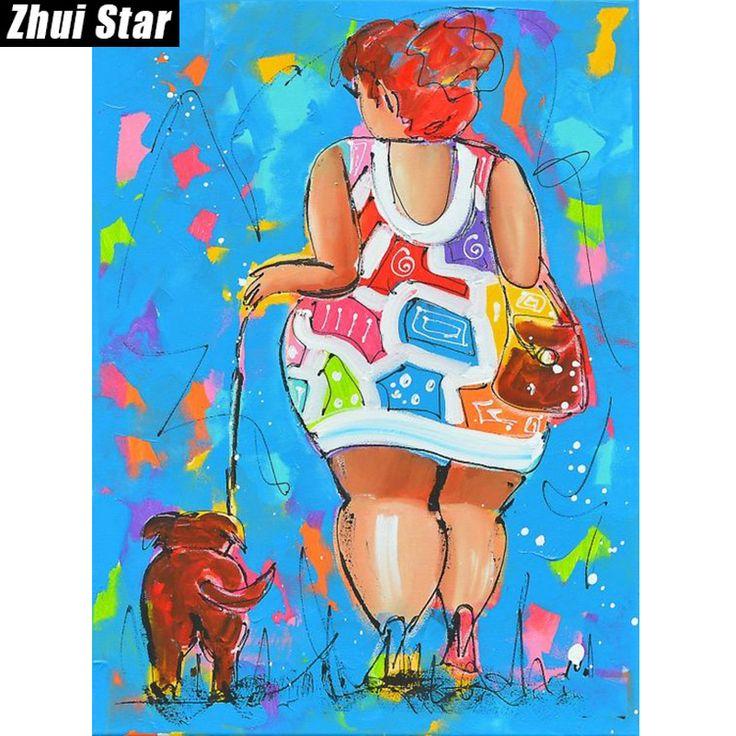 "Zhui Star Full Square Drill 5D DIY Diamond Painting "" fat ladies"" 3D Embroidery set Cross Stitch Mosaic Decor gift VIP #Affiliate"