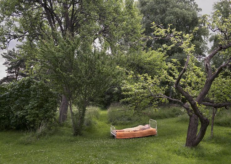 """""""IN THE MEANTIME"""" by Anna Sundström. #art #artnews #photography #sleep #bed #green #nature #trees #leaves  Available at: http://www.arrivals.se/product/in-the-meantime-by-anna-sundström"""
