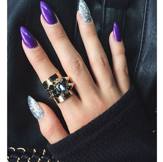 Who doesn't love purple with a little bit of pop - 25+ Beautiful Purple Nails Ideas On Pinterest Purple Nails With