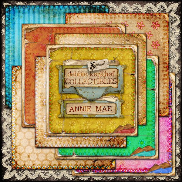 'Annie Mae' Papers scrapbooking kit from Xquizart at Mischief Circus
