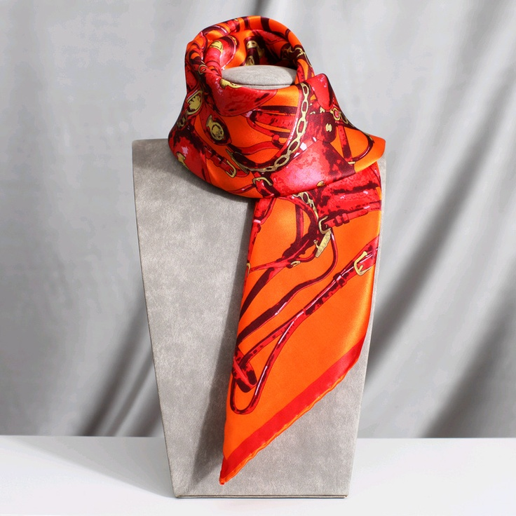 Satin Stretched And Chain Print Silk Scarf Orange