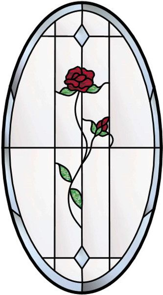 Single Rose Oval Stained Glass Window Dollhouses
