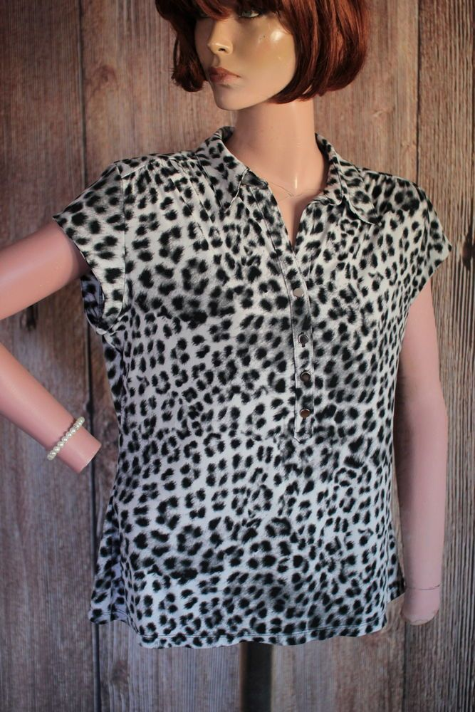 Alfani Petite shirt Top Black & Gray Cheetah  Short Cap Sleeves size PL B58 #Alfani #PullOverStretchPartialButtonDown #Careercasualanytime