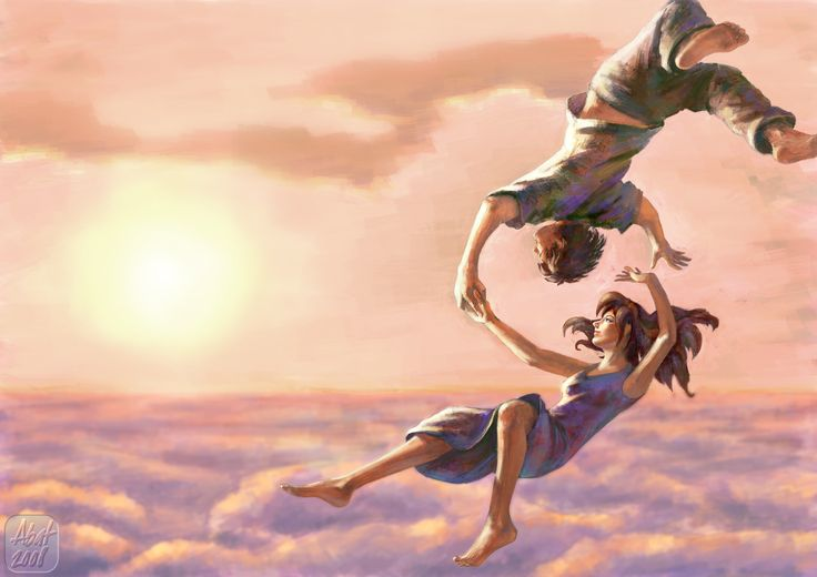 Любовь, как парение. art graphics illustration drawing picture soaring sky flying man and woman lovers luck warm red sunset clouds girl