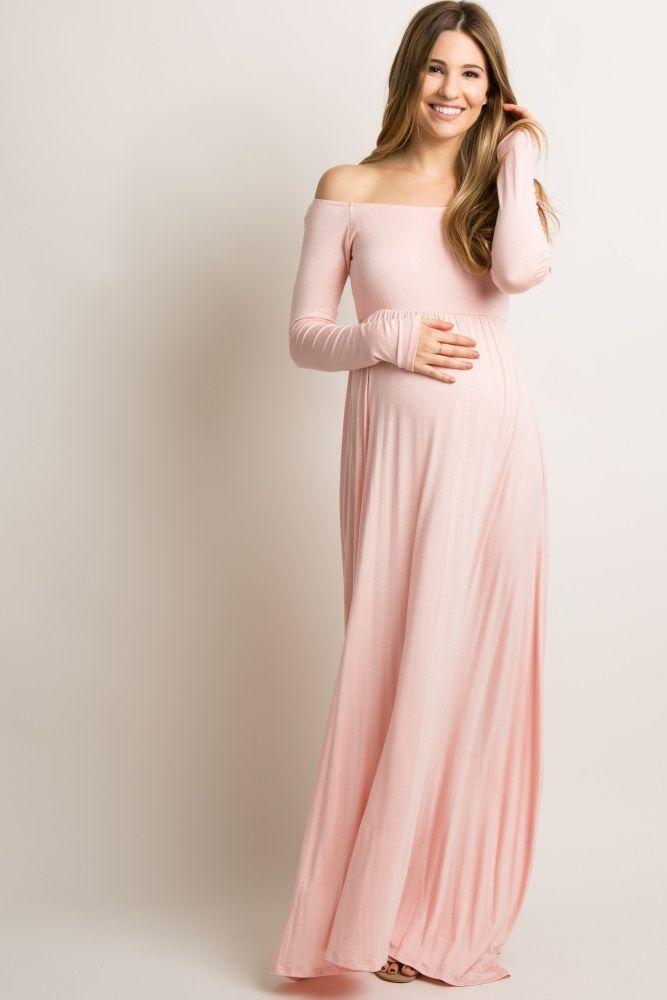 861c4a96e012 Burgundy Solid Off Shoulder Maternity Maxi Dress