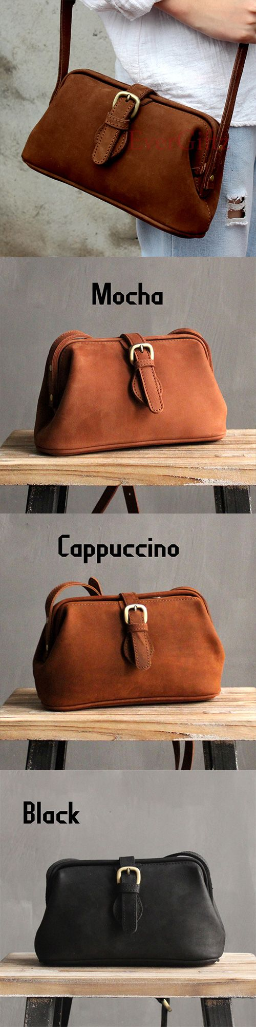 Handmade leather vintage women doctor bag shoulder bag crossbody bag