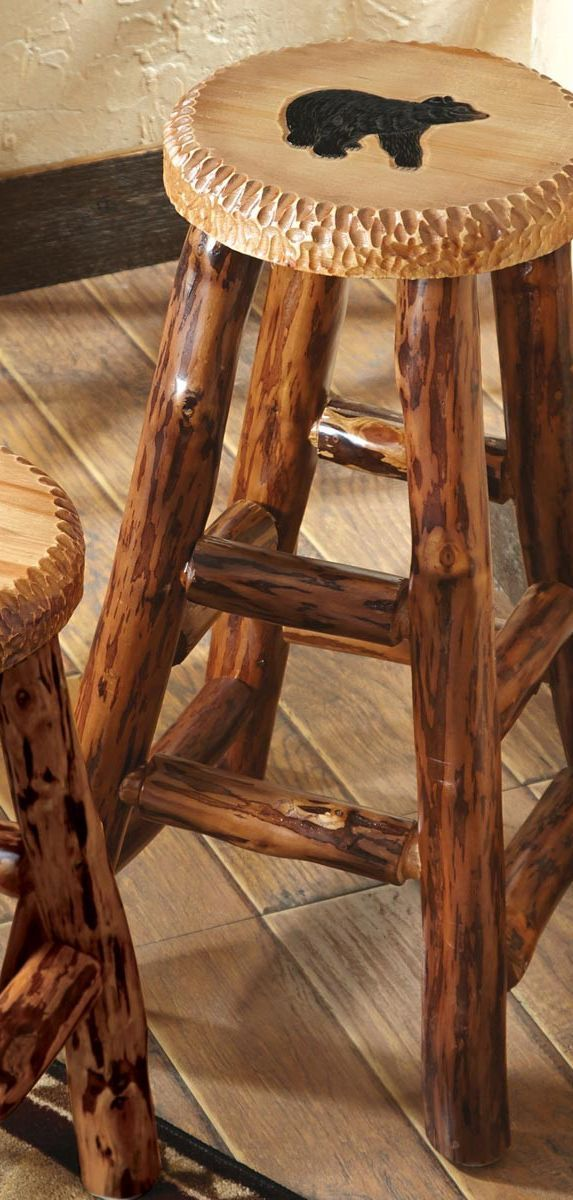 Carved Wood Bar Stool | Rustic Pub Stools & Pub Furniture in 2019