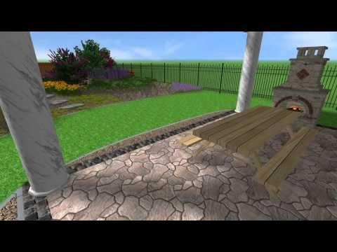 Zahrada s osázeným navýšeným ostrůvkem a zahradním domkem