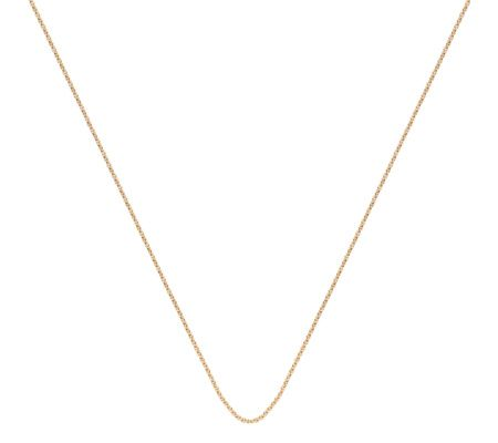 This delicate chain in 18ct Gold Plated Vermeil on Sterling Silver is perfect to team with your favourite MV pendants. The chain measures 24in and a sliding bead allows you to adjust its length.
