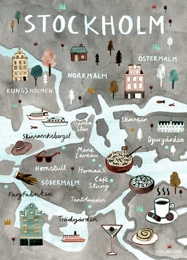 Stockholm Map by Livi Gosling. Discover restaurants, bars, shops, clubs &…