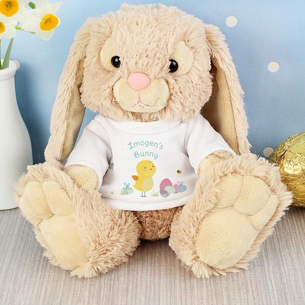 Personalise this Easter Bunny T-Shirt with a message over 2 lines of up to 15 characters per line. All personalisation is case sensitive and will appear as entered.Bunny is 21cm from sitting.Suitable for children over the age of 36 months.Perfect for Easter, For Him, For Her.