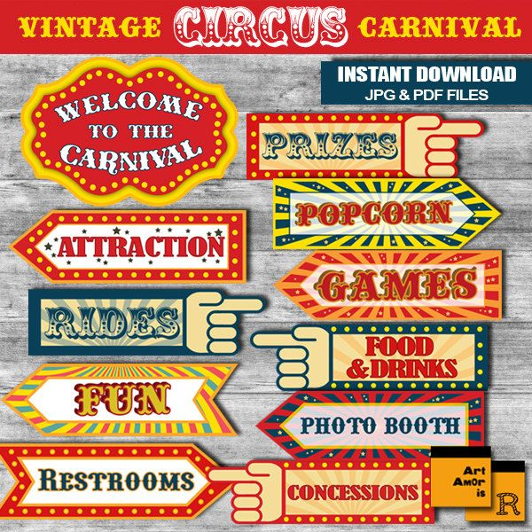 Vintage Circus Carnival Party Signs, Instant Download A3 size JPG & PDF files /R2P by ArtAmoris on Etsy