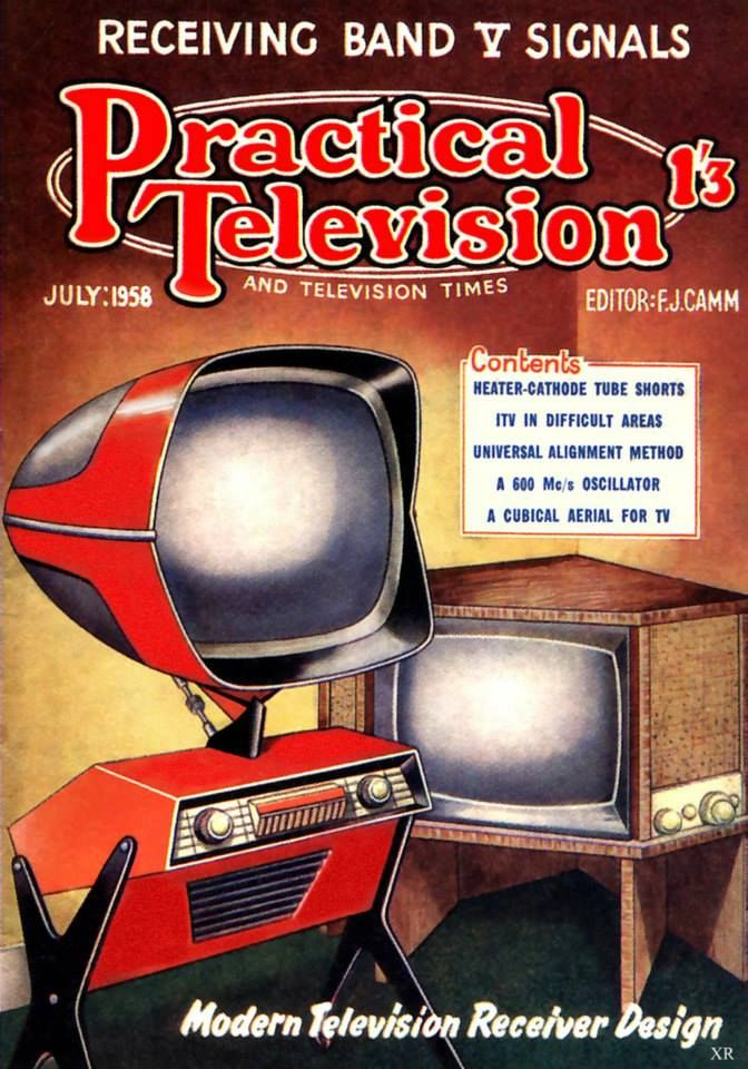 """The TELÉAVIA Panoramic 111 HD!!! TV, France 1957   """"...Teleavia type P111, a rare 1958 console-stand television by Citroën DS designer Flaminio Bertroni that was not only a hallmark in style, but also one of the earliest examples of high-definition TV.The controls and speaker sit in the rectangular box below and the screen can be turned independently through 150-degrees as well as angled vertically.The set is also """"dual standard"""", with capability to show 441 lines (which became the standard…"""