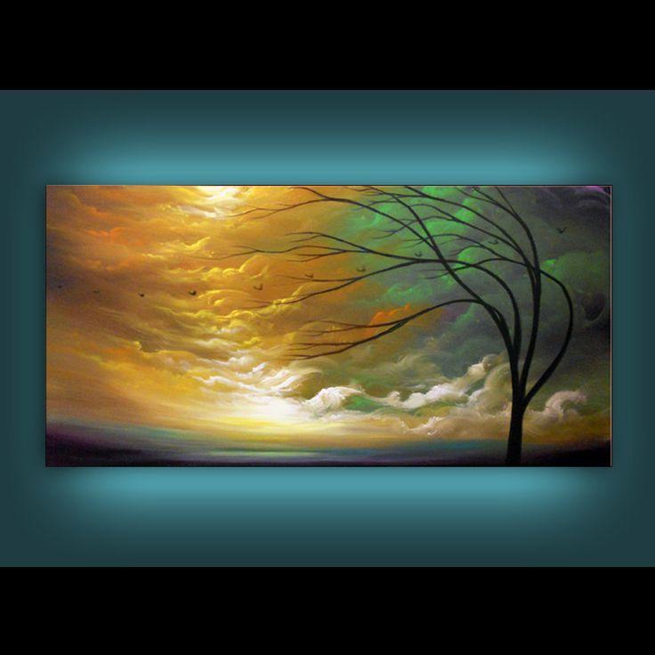art abstract original painting tree painting art by mattsart, $375.00