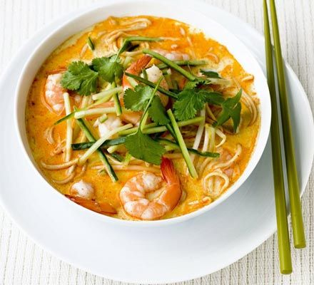 Prawn laksa - made this. I used thai red curry paste, and used too much which made it extra spicy. Was very delicious though!