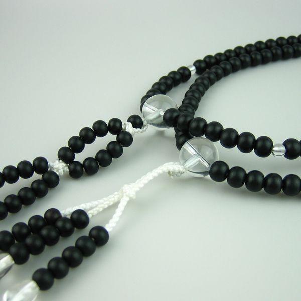 Japanese juzu nenju prayer beads Nichiren buddhist mala L size Material ebony & clear quartz DHL Free Shipping