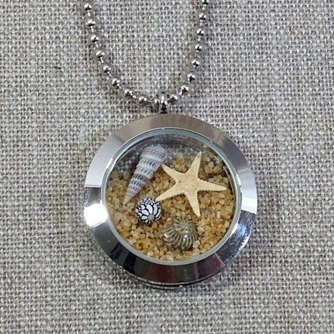 Starfish, Seashells & Sand Floating Beach Glass Locket