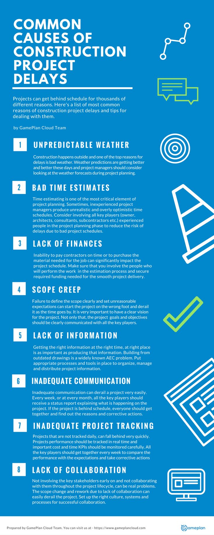 Common Causes of Construction Project Delays - Unpredictable Weather, Bad Time Estimated, Lack of Finances, Scope Creep, Lack of Information