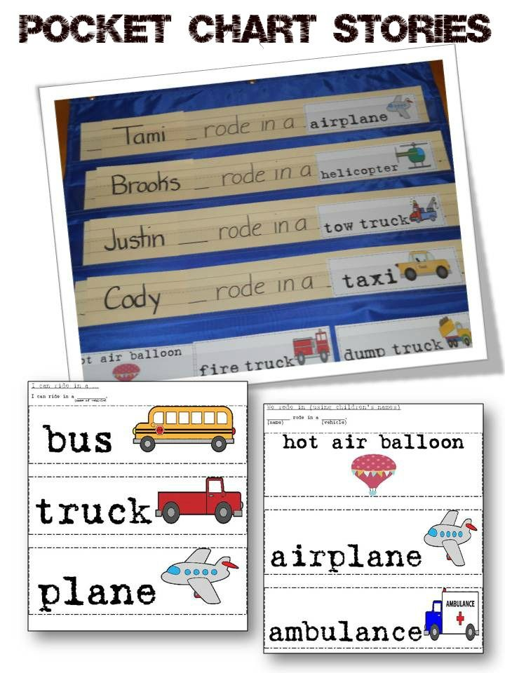 Transportation Pocket Chart Stories Pocket charts, For