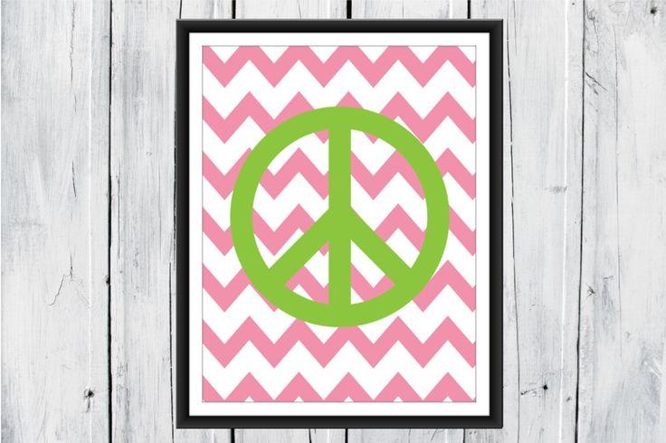 Teen Room Decor -  Peace Sign   Chevron Background - Custom Colors & Size by TheEducatedOwl on Etsy https://www.etsy.com/listing/167019797/teen-room-decor-peace-sign-chevron