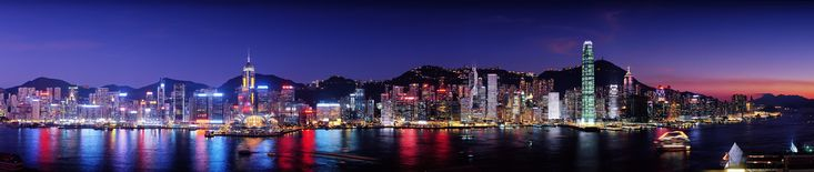 Night Time Panoramic View of Hong Kong Island From The Avenue of Stars in Tsim Sha Tsui