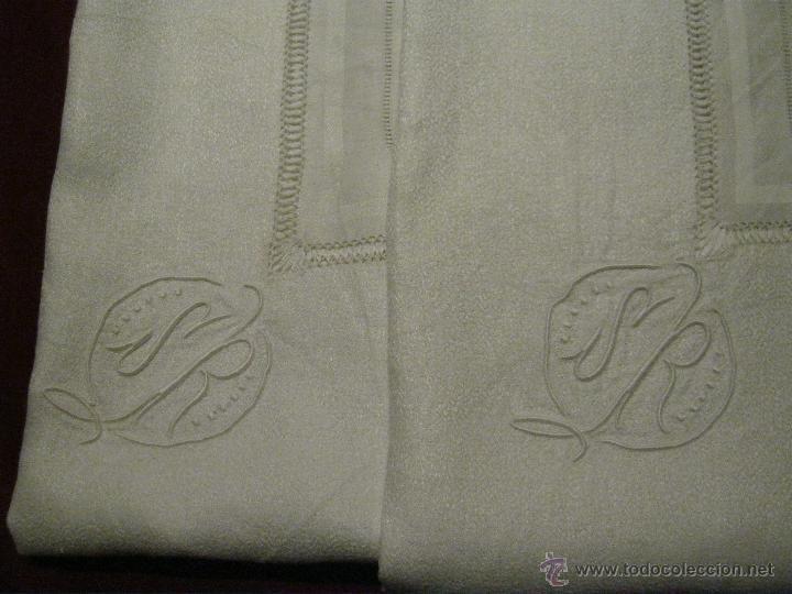 Antigua manteleria de lino con iniciales dobles y vainica - Manteles de lino ...